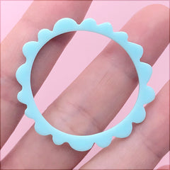 Acrylic Open Bezel for UV Resin Filling | Irregular Ring Charm | Round Deco Frame | Kawaii Retro Jewelry DIY (1 Piece / Blue / 39mm)