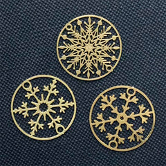 Small Snowflake Circle Metal Bookmark Assortment | Round Christmas Deco Frame | UV Resin Craft Supplies (3 pcs / 20mm)