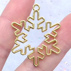 Snowflake Deco Frame for UV Resin Filling | Christmas Ornament Making | Open Bezel Charm Supplies (1 piece / Gold / 29mm x 36mm)