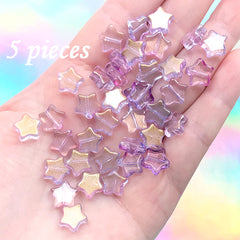 Star Glass Beads in Galaxy Gradient Colour | Small Bead for Bracelet Making | Kawaii Jewellery Supplies (Pink Purple Gold / 5 pcs / 10mm x 9mm)