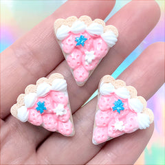 Miniature Cake Slice Cabochons | Doll Food Supplies | Kawaii Sweets Deco | Decoden Phone Case Making (3 pcs / 23mm x 24mm)