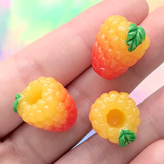 Raspberry Cabochons | 3D Fruit Embellishment | Kawaii Food Jewellery Making | Decoden Supplies (3 pcs / 16mm x 17mm)
