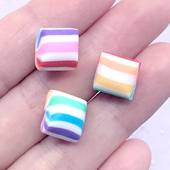 Rainbow Peppermint Candy Cabochon in Actual Size | Fake Candy Embellishments | Kawaii Food Jewelry DIY | Sweets Decoden (3 pcs / 12mm x 10mm)