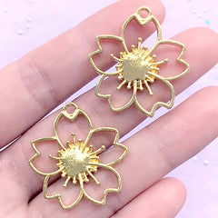 Sakura Open Bezel Charm | Cherry Blossom Pendant | Floral Deco Frame for UV Resin Filling | Spring Jewelry Supplies (2 pcs / Yellow Gold / 28mm x 30mm)