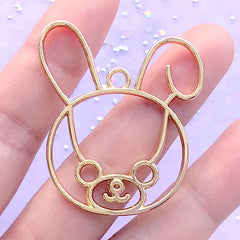 Kawaii Bunny Open Bezel for UV Resin Filling | Rabbit Deco Frame | Cute Animal Jewellery Supplies (1 piece / Gold / 37mm x 43mm)