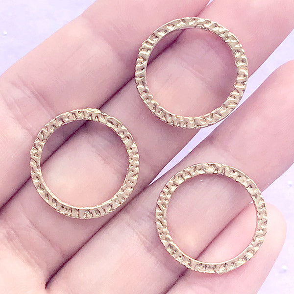 Circle Open Bezel for UV Resin Jewellery Making | Ring Charm | Round Frame for Resin Filling | Kawaii Craft Supplies (3 pcs / Gold / 20mm)