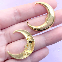 DEFECT Moon Face Embellishments for Astronomy Resin Art Decoration | Astronomical Resin Inclusions (2 pcs / Gold / 25mm x 29mm)