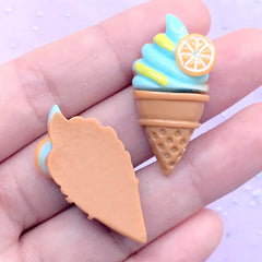 Ice Cream Decoden Cabochons | Kawaii Embellishments | Sweets Deco | Phone Case Decoration (2 pcs / Blue / 17mm x 34mm)