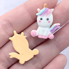 Miniature Unicorn Sugar Cookie Decoden Cabochons | Doll Food Supplies | Kawaii Sweets Deco (3 pcs / 19mm x 23mm)
