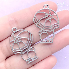 Umbrella and Animal Open Bezel Pendant | Cute Deco Frame for UV Resin Filling | Kawaii Resin Crafts (2 pcs / Silver / 22mm x 34mm)