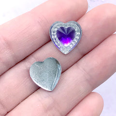 Kawaii Heart Gemstones | Mahou Kei Jewellery Making | Decoden Supplies (12 pcs / Purple / 14mm x 14mm)