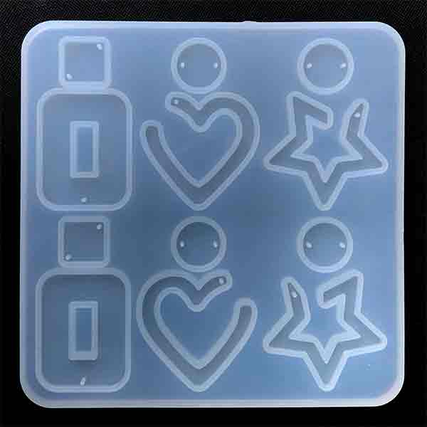 Heart Star Rectangle Dangle Earring Silicone Mold (12 Cavity) | Statement Jewellery Mold | UV Resin and Epoxy Resin Mold