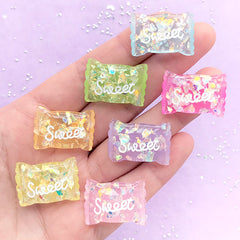 Kawaii Candy Cabochon Assortment with Iridescent Glitter | Decoden Phone Case DIY | Sweet Deco Supplies (7 pcs / Mix / 17mm x 24mm)