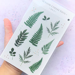 Eagle Fern Stickers | Realistic Pressed Leaves Embellishments | Resin Inclusions | Herbarium Sticker | Resin Inclusions | Dried Leaf Sticker