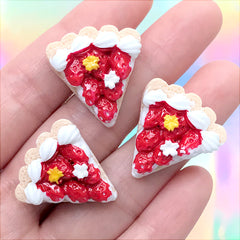 Strawberry Cake Slice Cabochons | Miniature Sweet Deco | Decoden Dessert Embellishments | Kawaii Craft Supplies (3 pcs / 23mm x 24mm)