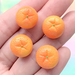 Dollhouse Orange Cabochons | 3D Miniature Citric Fruit | Kawaii Sweet Deco | Faux Food Jewelry Supplies (4 pcs / 15mm x 13mm)