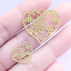 Heart Metal Bookmark with Floral Pattern | Flower Deco Frame for UV Resin Filling | Resin Jewellery DIY (2 pcs / 17mm and 27mm)