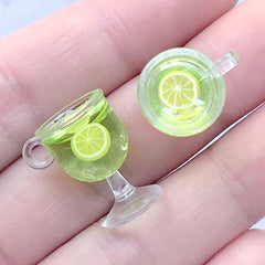 Fruit Punch Charm | Dollhouse Food Jewellery Making | Miniature Beverage Cabochon (2 pcs / Lime / 12mm x 18mm)