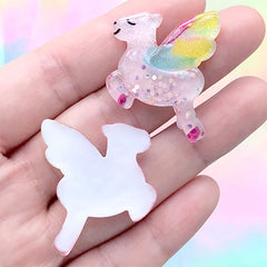 Flying Horse Cabochons | Kawaii Mythical Creature Embellishment | Decoden Supplies (2 pcs / Pink / 26mm x 32mm)