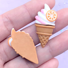 Kawaii Ice Cream Cabochons | Summer Embellishments | Sweet Deco | Phone Case Decoden (2 pcs / Vanilla White / 17mm x 34mm)