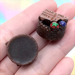 Chocolate Cake Cabochons | Miniature Dessert | Sweets Decoden | Fake Food Jewellery Making (2 pcs / 18mm)