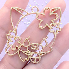 Kawaii Animal with Sakura Open Bezel | Cherry Blossom Cat Deco Frame for UV Resin Filling | Flower Dog Charm (1 piece / Gold / 42mm x 43mm)