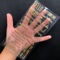 Greeting Encouraging Message Sticker in Gold Color | Word Embellishments for Resin Art | Clear Film Sticker | Scrapbooking Supplies