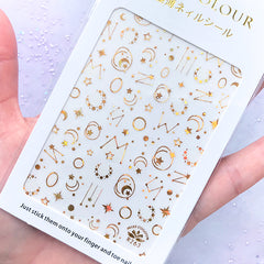 Gold Foiled Constellation Sticker | Moon Star Zodiac Signs Horoscopes Stickers | Astrology Resin Inclusions | Nail Decoration