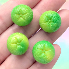 Miniature Lime Cabochons in 3D | Dollhouse Citric Fruit | Kawaii Food Jewelry Making | Decoden Supplies (4 pcs / 15mm x 13mm)