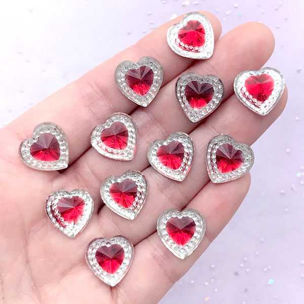 Magical Girl Heart Rhinestones | Kawaii Mahou Kei Jewelry DIY | Decoden Phone Case Making (12 pcs / Red / 14mm x 14mm)
