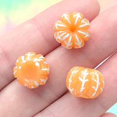 Miniature Orange Cabochon | 3D Dollhouse Fruit | Stud Earrings DIY | Fake Food Jewelry Making | Kawaii Decoden (4 pcs / 13mm x 10mm)