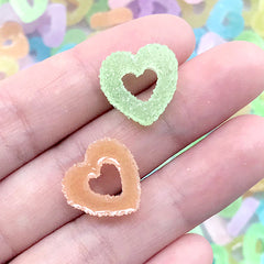 Sugar Heart Ring Candy Cabochons | Faux Jelly Candy | Fake Gummy Candies | Kawaii Food Jewelry Making (10 pcs by Random / 16mm x 15mm)