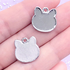 Small Cat Head Bezel Tray | UV Resin Jewelry Supplies | Kitty Pendant | Kitten Charm | Kawaii Crafts (2 pcs / Silver / 15mm x 15mm)