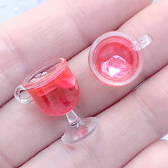 Dollhouse Fruit Punch Charm | Doll Food Jewelry DIY | 3D Miniature Beverage | Kawaii Resin Drink Cabochon (2 pcs / Strawberry / 12mm x 18mm)