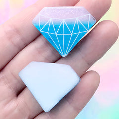 Kawaii Diamond Cabochon | Glittery Embellishments for Decoden Crafts | Phone Case Decoration (2 pcs / Blue / 32mm x 24mm)