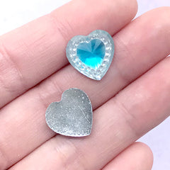 Faceted Heart Gemstones | Magical Girl Decoden Supplies | Kawaii Jewellery Making (12 pcs / Light Blue / 14mm x 14mm)