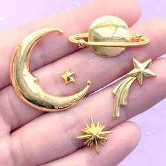 DEFECT Astronomy Resin Inclusion Assortment | Metal Embellishment for Kawaii UV Resin Craft | Moon Shooting Star North Star Planet Saturn (5 pcs / Gold)