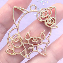 Cute Animal Head with Rose Open Bezel | Floral Dog Deco Frame for UV Resin Filling | Flower Cat Charm (1 piece / Gold / 41mm x 42mm)