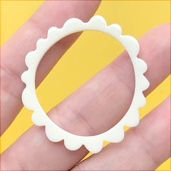 Irregular Round Open Bezel Charm for UV Resin Filling | Acrylic Deco Frame | Kawaii Retro Jewellery Supplies (1 Piece / White / 39mm)