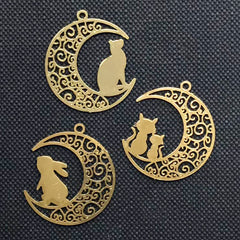 Filigree Moon and Animal Metal Bookmark Assortment | Moon with Cat and Rabbit Deco Frame for UV Resin Filling (3 pcs / 21mm x 24mm)