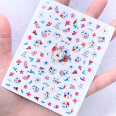 Watercolor Flower Nail Art Sticker | Floral Resin Inclusions | Spring Nail Decorations | Resin Craft Supplies