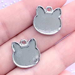 DEFECT Small Cat Head Bezel Tray | UV Resin Jewelry Supplies | Kitty Pendant | Kitten Charm | Kawaii Crafts (2 pcs / Silver / 15mm x 15mm)