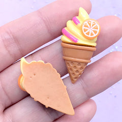 Ice Cream Resin Cabochons | Phone Case Deco | Sweet Decoden Pieces | Kawaii Craft Supplies (2 pcs / Lemon Yellow / 17mm x 34mm)