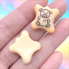 Bear Chocolate Biscuit Cabochons | Faux Food Embellishments | Kawaii Sweet Decoden Supplies (2 pcs / 19mm x 19mm)