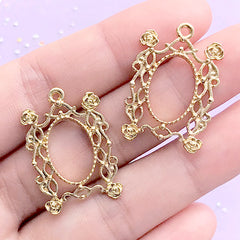 Filigree Rose Rectangular Deco Frame for UV Resin Filling | Floral Open Bezel | Kawaii Jewelry Supplies (2 pcs / Gold / 19mm x 28mm)
