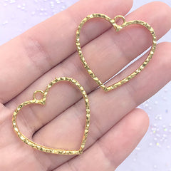 Heart Open Bezel with Wavy Border | Heart Deco Frame for for UV Resin Filling | Kawaii Jewelry DIY (2 pcs / Gold / 29mm x 28mm)