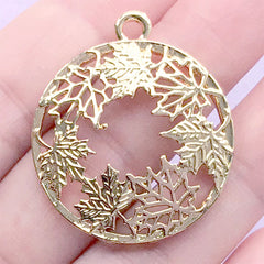 Maple Leaf Circle Open Back Bezel | Openwork Leaves Charm | Round Floral Deco Frame for UV Resin Filling (1 piece / Gold / 29mm x 34mm)