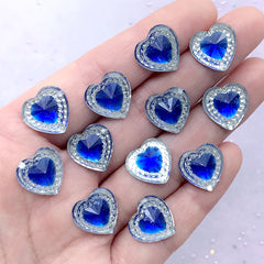 Faceted Heart Rhinestones | Magical Girl Decoration | Kawaii Phone Case Decoden Supplies (12 pcs / Blue / 14mm x 14mm)
