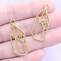 Pointed Crystal Open Bezel Charm | Quartz Shard Deco Frame for UV Resin Filling | Kawaii Jewelry Making (2 pcs / Gold / 14mm x 34mm)