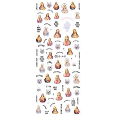 Jesus Christ Nail Art Decal Stickers | Religion Water Transfer Sheet | Christian Embellishments | Resin Decoration